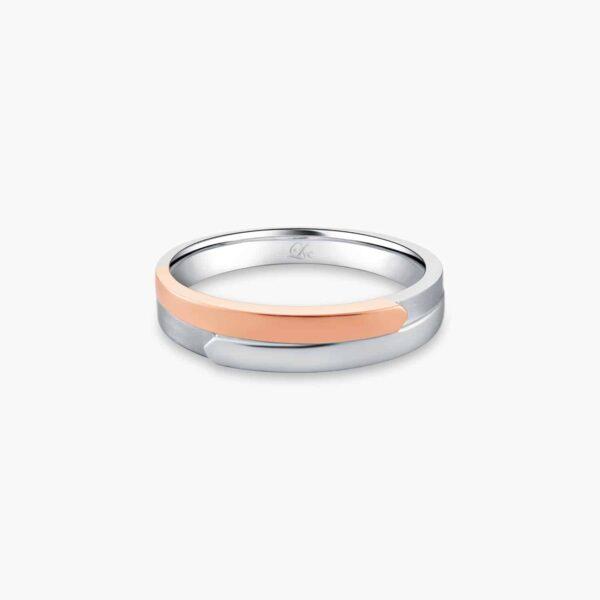 LVC Desirio Men's Wedding Ring in White Gold with Rose Gold Band