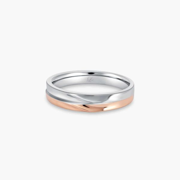 LVC Desirio Wedding Band in Dual White and Rose Gold Glossy Finish