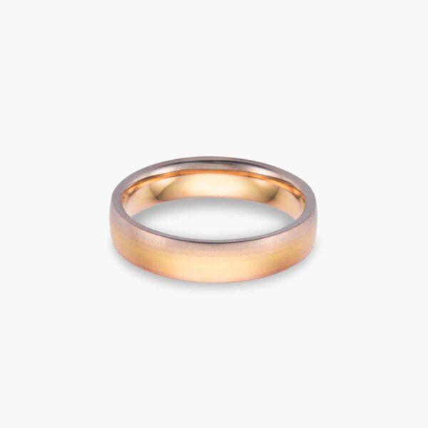 LVC Soleil Aurora Men's Wedding Ring in Three Gold Tones with Satin Finish