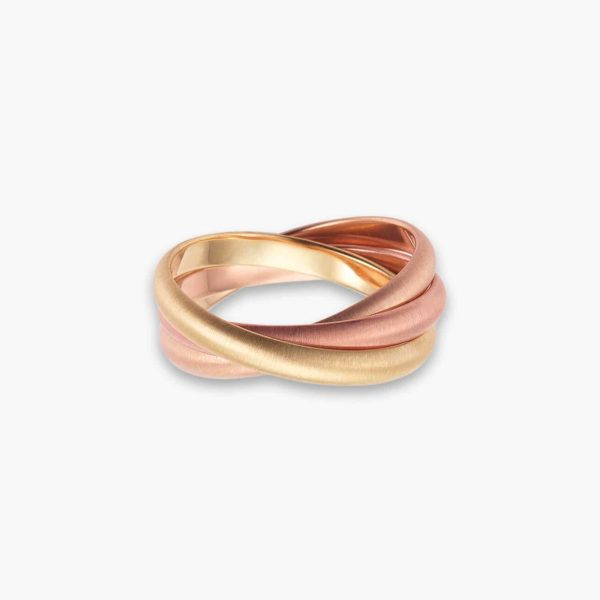 LVC Soleil Trinity Men's Wedding Ring in Yellow and Dual Rose Gold Tones