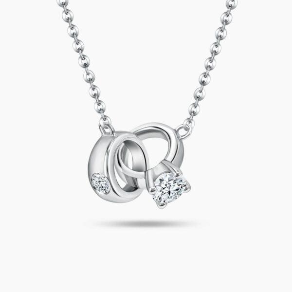 LVC Interlocking Love Mini Ring Diamond Necklace in 18K White Gold