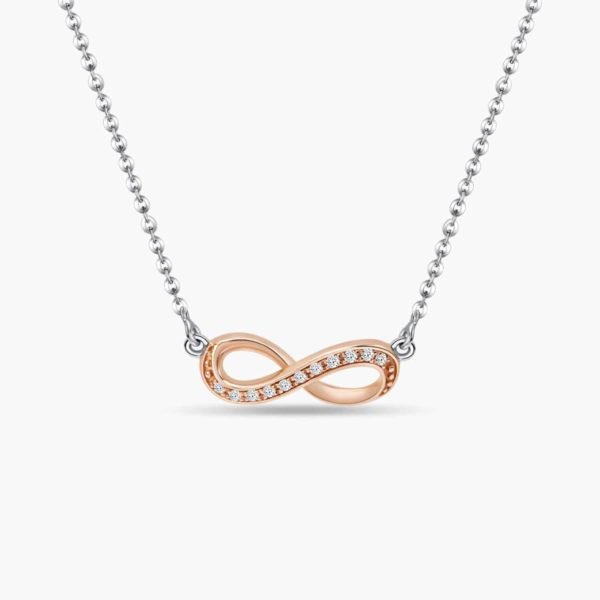 LVC Destiny Infinity Diamond Necklace in 18K Rose Gold diamond pendant and white gold necklace chain