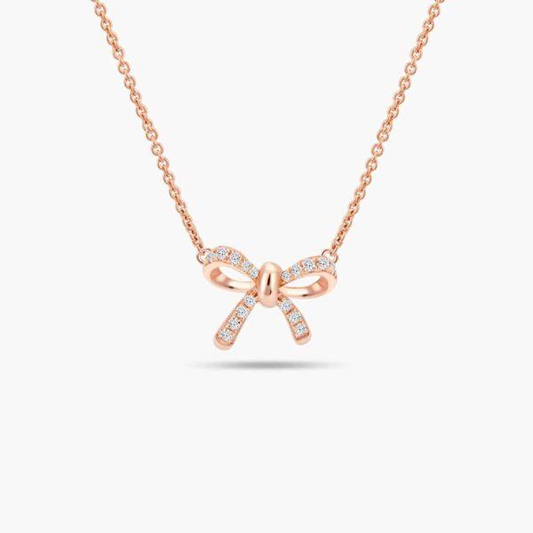 LVC Noeud Ribbon Diamond Necklace in 18k Rose Gold