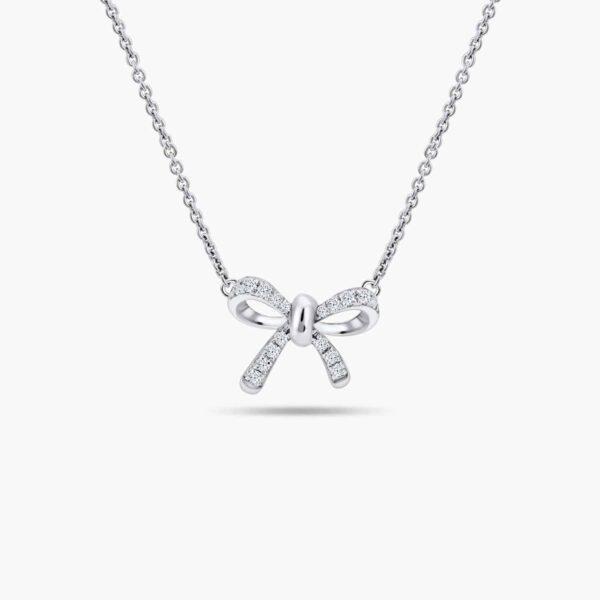 LVC Noeud Ribbon Diamond Necklace in 18k White Gold