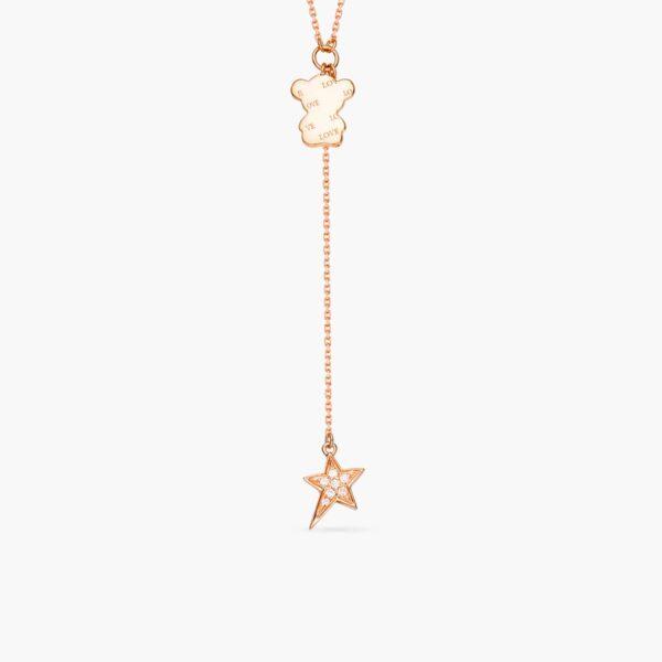 LVC Teddy Bear Fluttering Heart Diamond Necklace in 18K Rose Gold