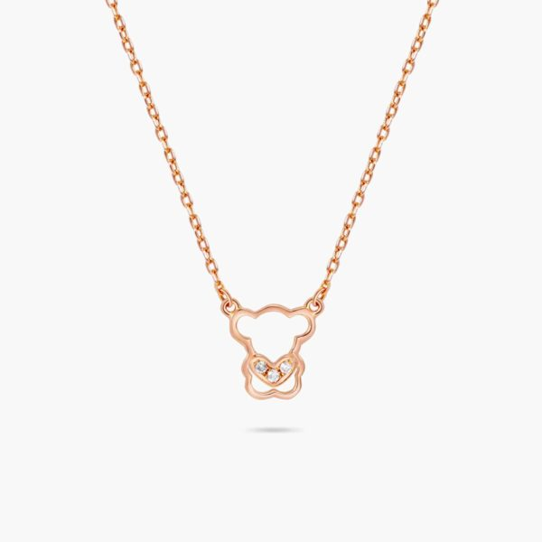 LVC Teddy Bear Trinity Love Diamond Necklace in 18k rose gold