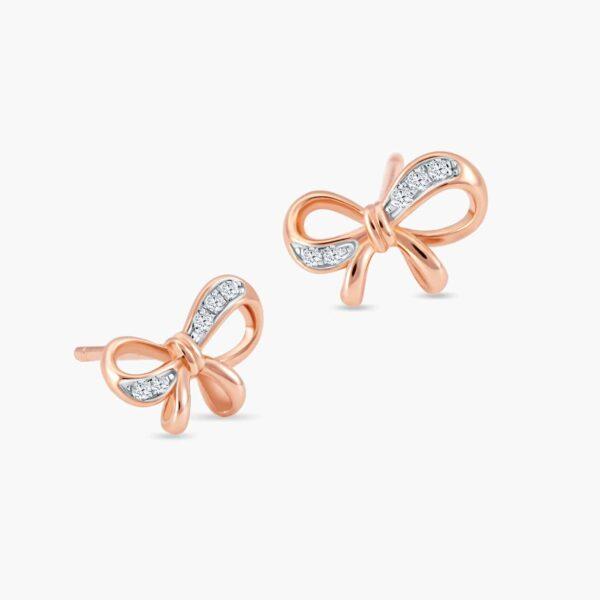LVC Noeud Ribbon Diamond Earrings in 18k rose gold