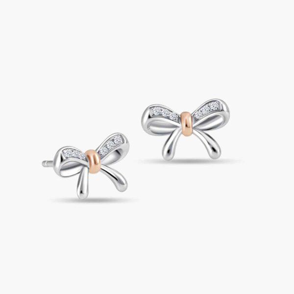 LVC Noeud Dainty Chic Diamond Earrings 18k white gold & rose gold