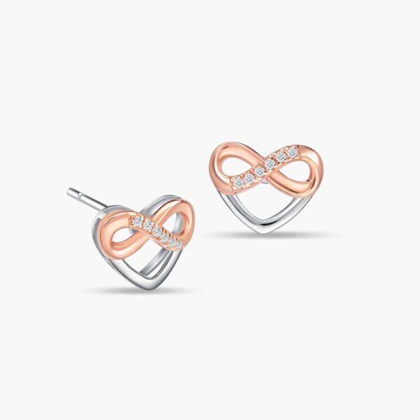 LVC Destiny Forever Love Diamond Earrings in 18k white gold & rose gold