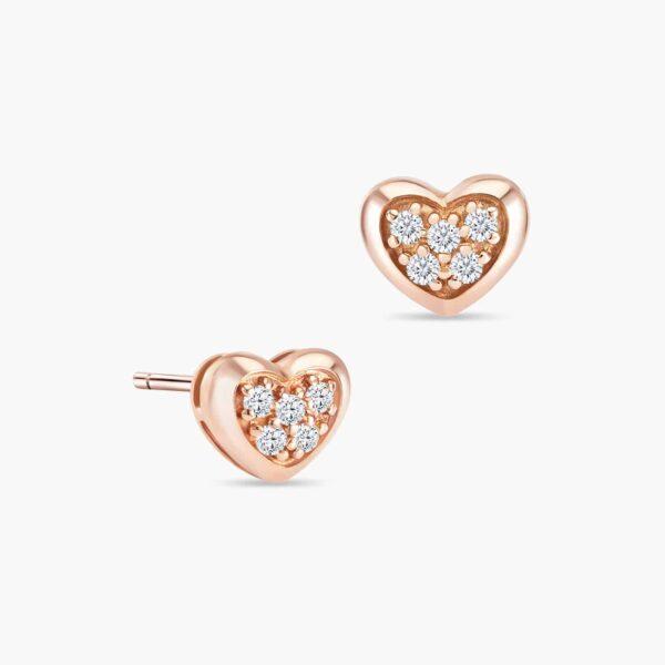 LVC Charmes Heart Diamond Earrings in 18k Rose Gold