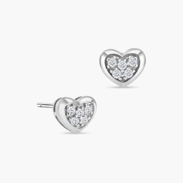 LVC Charmes Heart Diamond Earrings in 18k White Gold