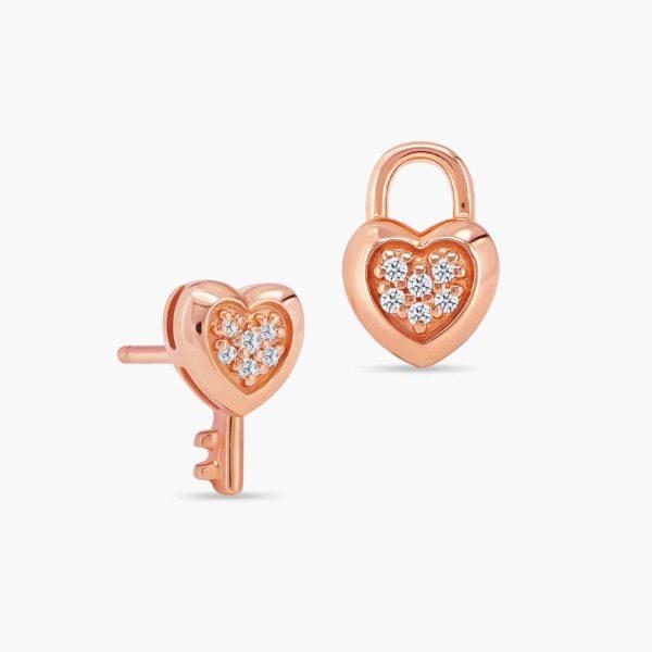 LVC Cheri Locket Diamond Earrings in 18k Rose Gold