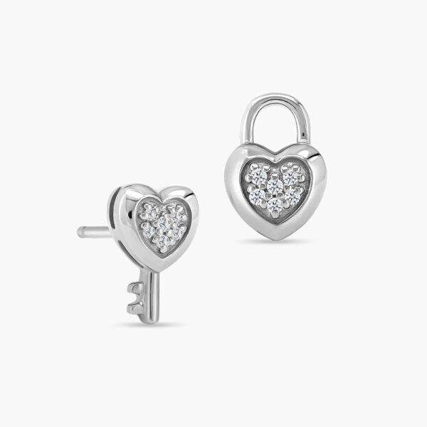 LVC Cheri Locket Diamond Earrings in 18k White Gold