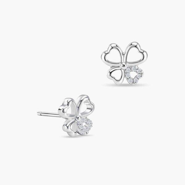 LVC Charmes Clover Diamond Earrings in 18k white gold