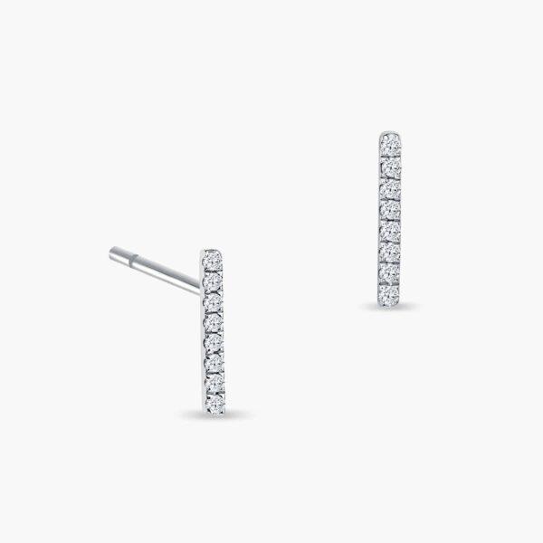 LVC Eterno Line Diamond Earrings in 18k White Gold