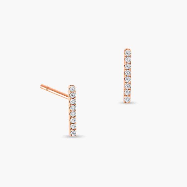 LVC Eterno Line Diamond Earrings in 18k Rose Gold