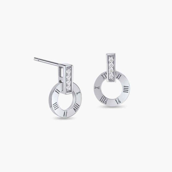 LVC Joie Millennium Diamond Earrings in 18k White Gold