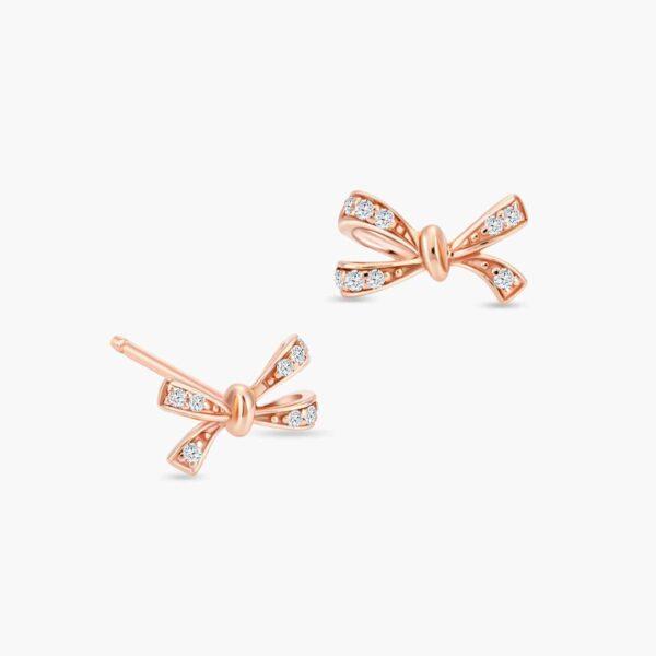 LVC Noeud Le Ruban Diamond Stud Earrings in 18k Rose Gold