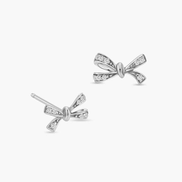 LVC Noeud Le Ruban Diamond Stud Earrings in 18k White Gold