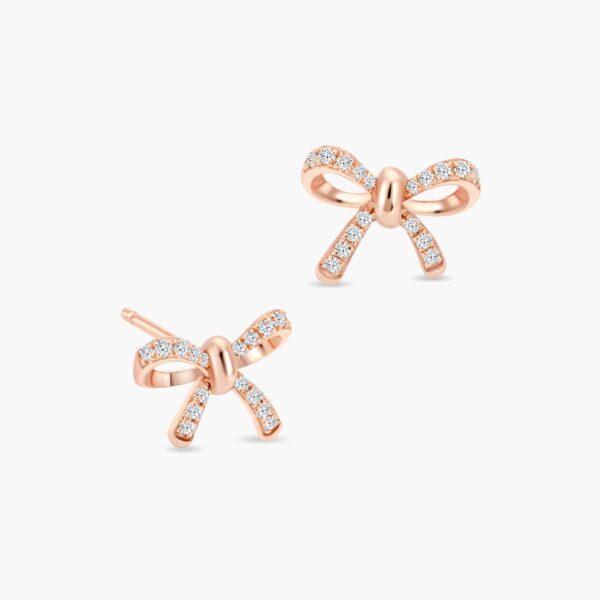LVC Noeud Bow Diamond Stud Earrings in 18k Rose Gold