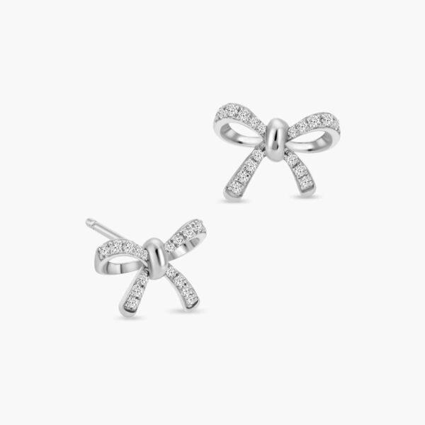 LVC Noeud Bow Diamond Stud Earrings in 18k White Gold