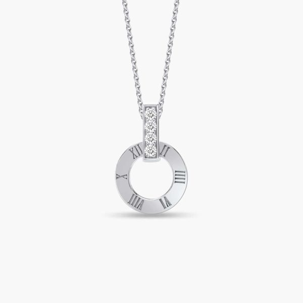 LVC Joie Millennium Diamond Pendant in 18k White Gold. Pair with 10K White Gold necklace chain