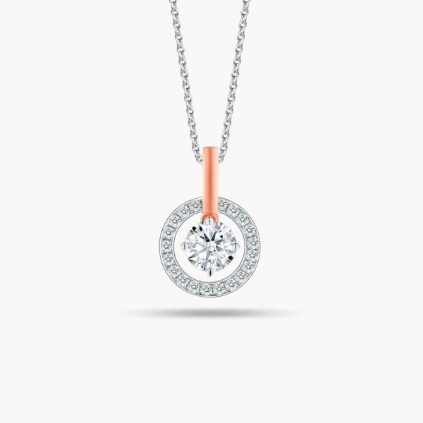 """LVC Joie Diamond Pendant """"I"""" in 18k white gold & rose gold. Pair with 10K White Gold necklace chain. 1st year anniversary gift"""