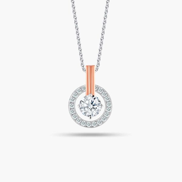 """LVC Joie Diamond Pendant """"II"""" in 18k white gold & rose gold. Pair with 10K White Gold necklace chain. 2nd year anniversary gift"""