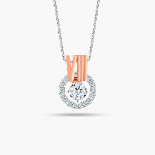 """LVC Joie Diamond Pendant """"VIII"""" in 18k white gold & rose gold. Pair with 10K White Gold necklace chain. 8th year anniversary gift"""