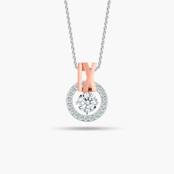 """LVC Joie Diamond Pendant """"IX"""" in 18k white gold & rose gold. Pair with 10K White Gold necklace chain. 9th year anniversary gift"""