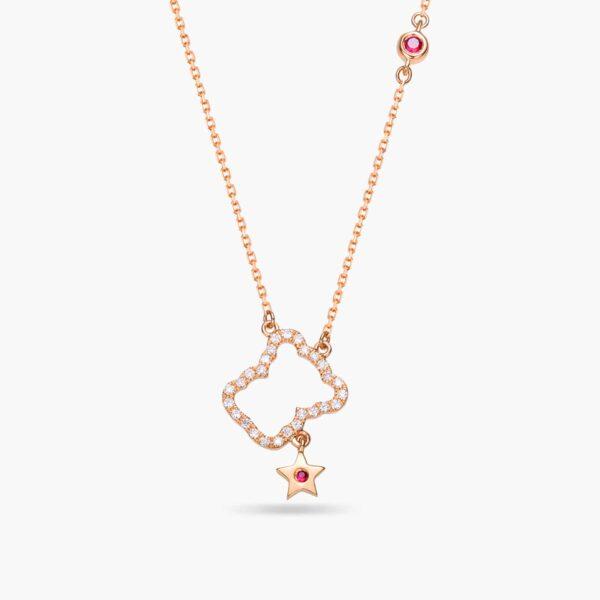 LVC Teddy Bear Shining Star Precious Stones Necklace in 18k rose gold