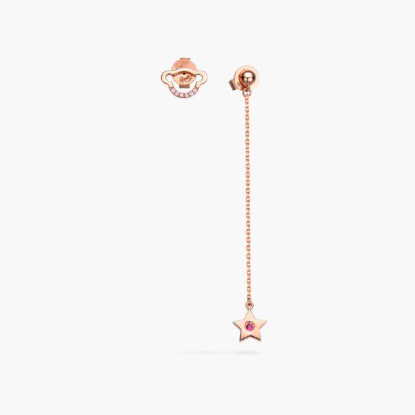 LVC Teddy Bear My Only Star Precious Stones Earrings in 18K Rose Gold, Diamond & Ruby