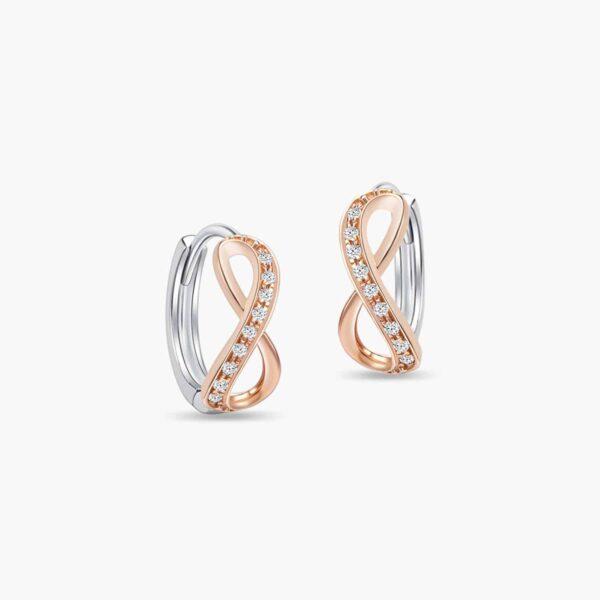 LVC Destiny Infinity Diamond Earrings in 18K White Gold and Rose Gold
