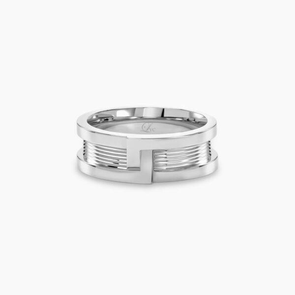 LVC Promise Interlocking Men's Wedding Band in White Gold