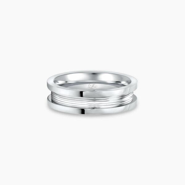 LVC Promise Pure Slim Men's Wedding Ring in White Gold