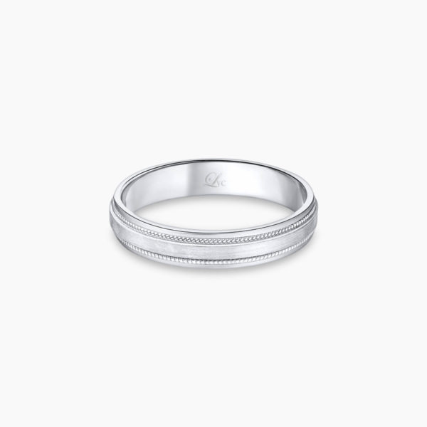 LVC Purete Men's Wedding Band in Platinum with Milgrain Design