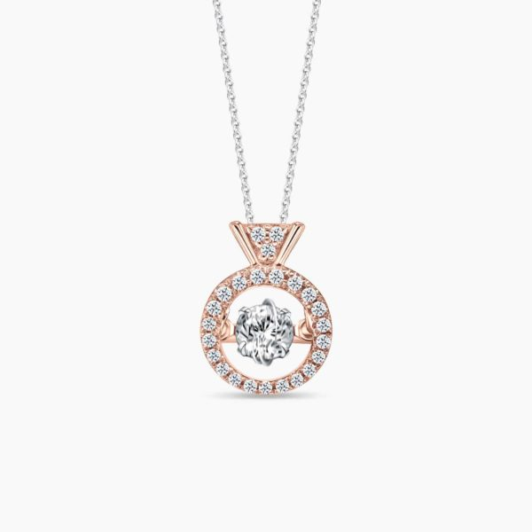 LVC Charmes Grace Mini Ring Diamond Pendant in Rose Gold with 10K White Gold Chain Necklace
